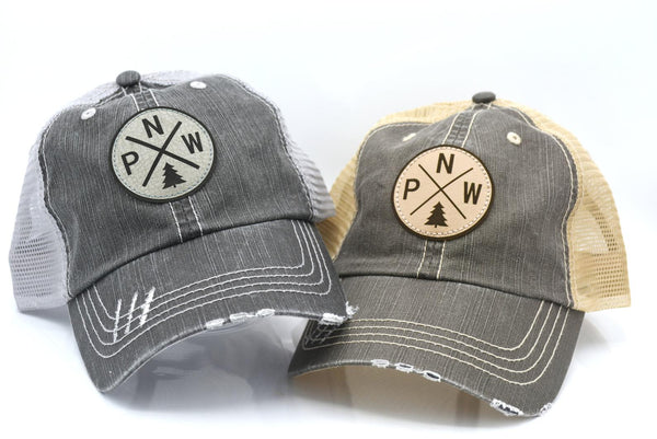Pacific North West (PNW) Leather Patch Trucker Hat