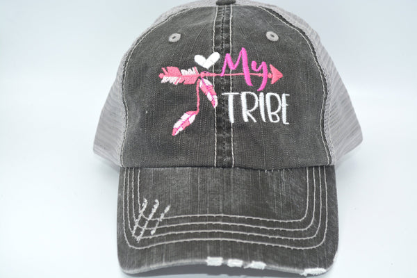 My tribe with arrow  Distressed Trucker Hat Embroidered Cap- Clearance -as is