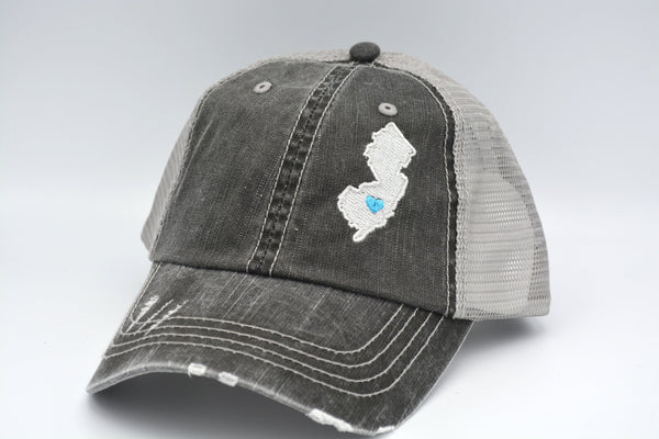 New Jersey State embroidered hat Distressed Trucker Hat Embroidered Cap- Clearance -as is