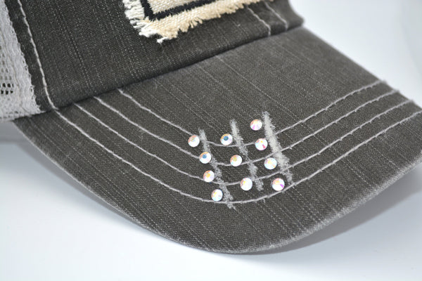 Upgrade For Rhinestone  Bling for distressed trucker hats