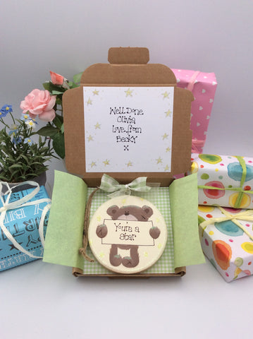 Handmade personalised greetings card and keepsake plaque with teddy
