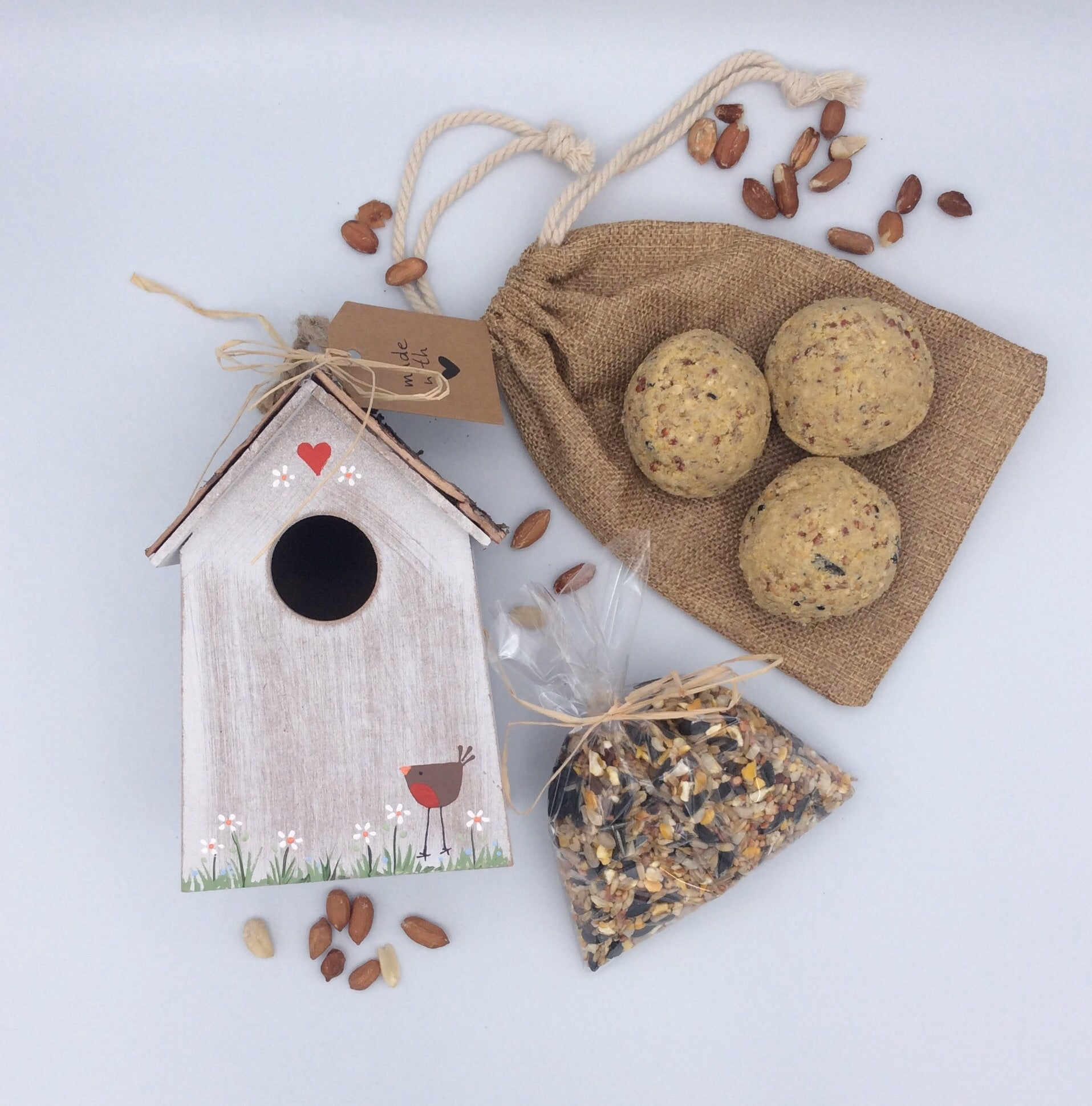 Hand painted bird box and bird seed gift set