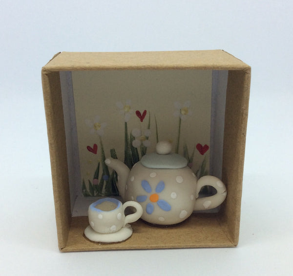 Teapot and cup in a box friendship gift.