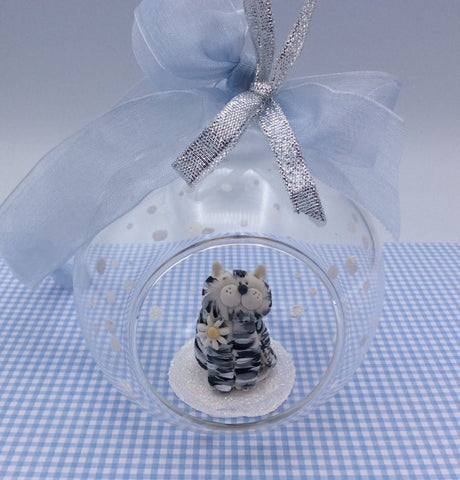 Beautiful cat glass bauble - Grey Tabby
