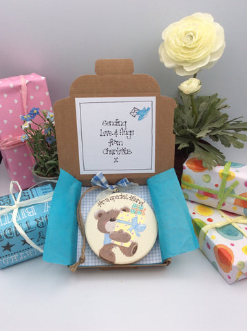 Teddy and presents keepsake card