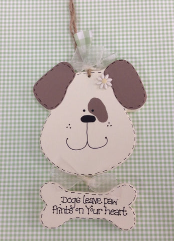 Hanging dog plaque with bone