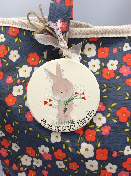 Ladies shopping bag, purse and personalised bunny plaque gift set