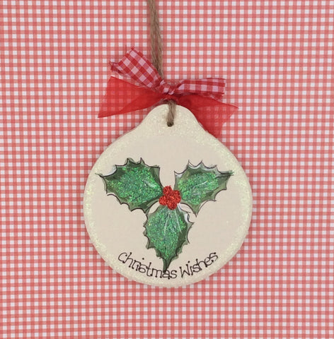 Personalised wooden Christmas bauble with Holly design