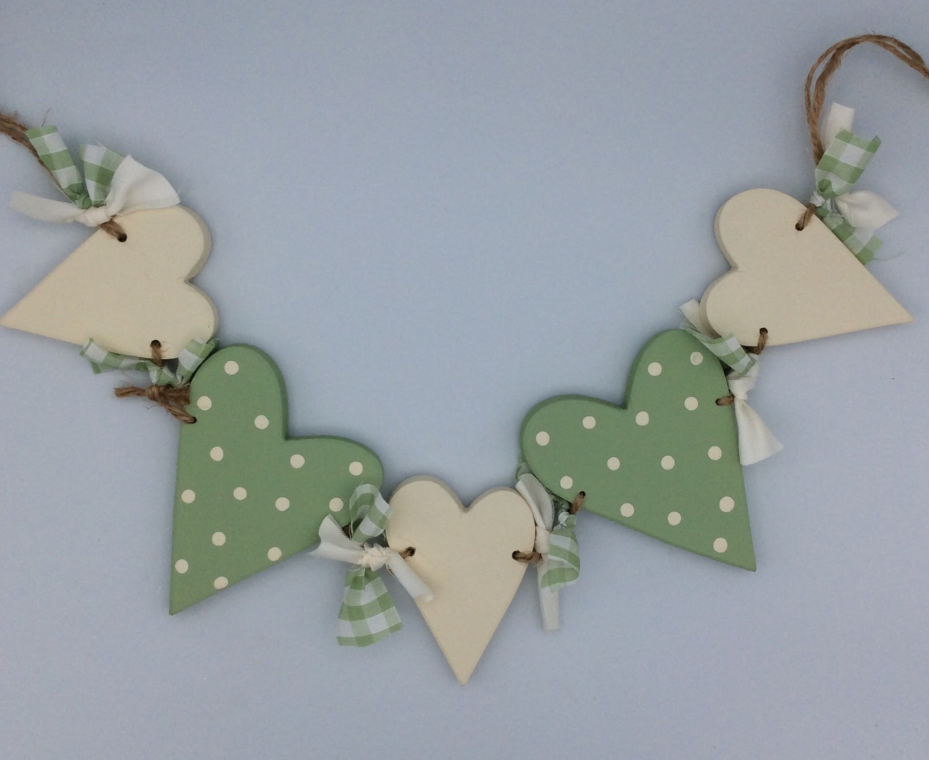 Green and cream heart bunting