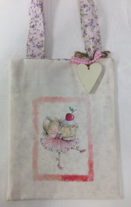 Children's handmade cotton bag with removable wooden heart ( fairy with cherry cupcake.