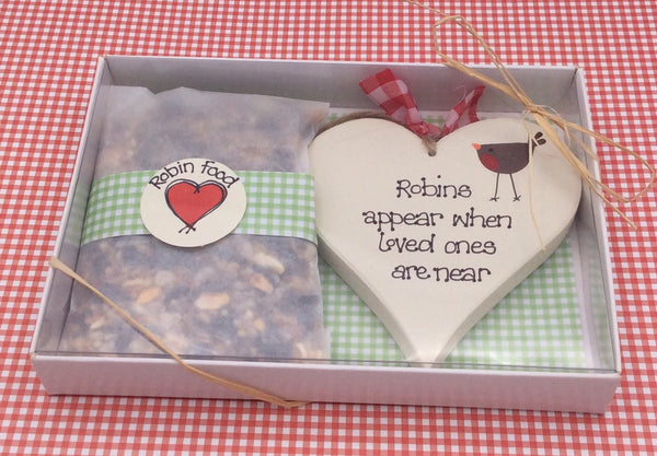 Robins appear when loved ones are near heart and robin food gift set