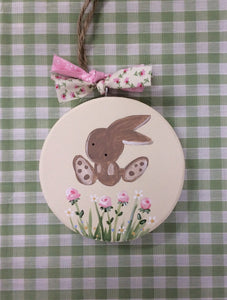 Bunny and flowers keepsake plaque