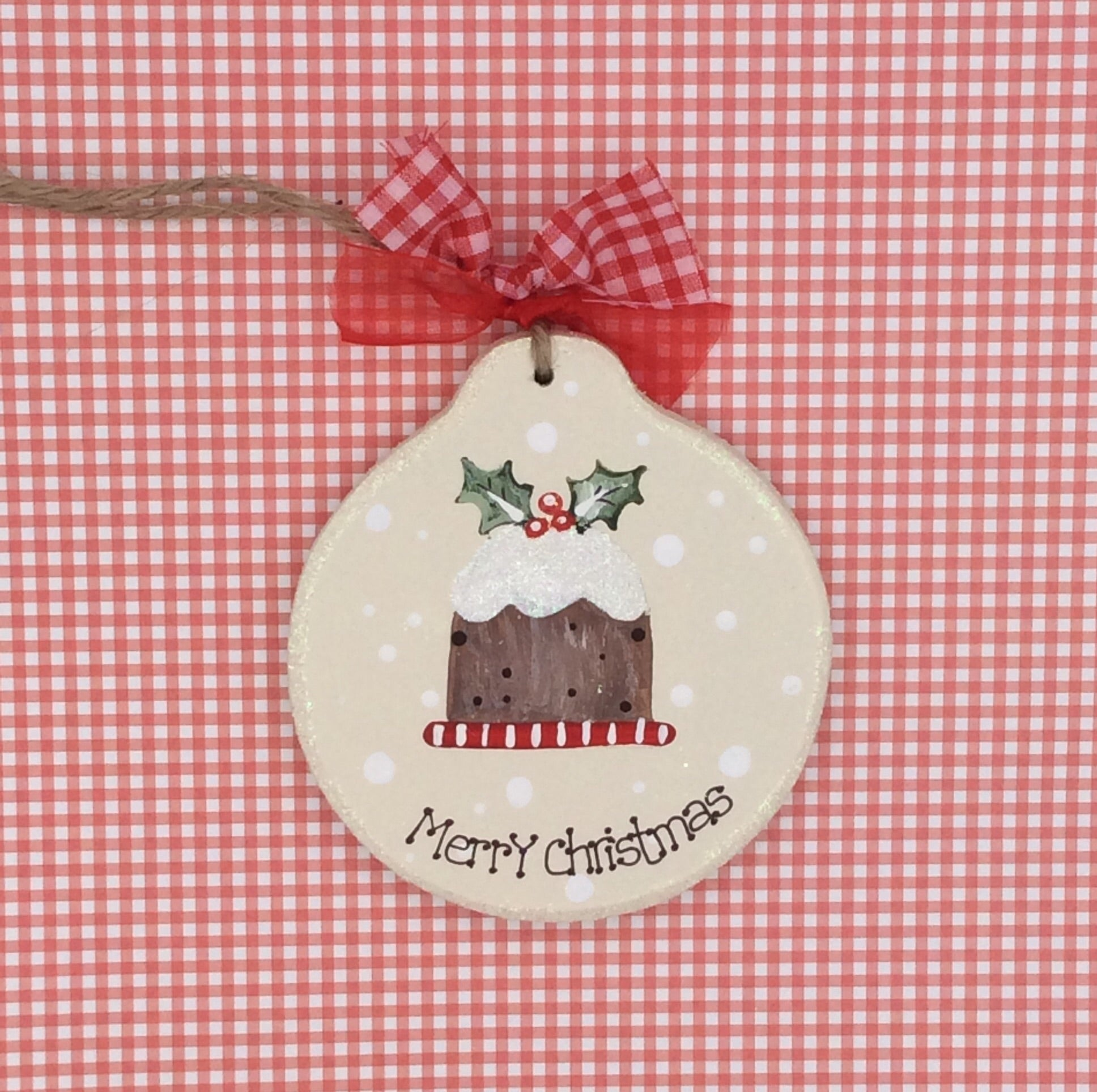 Personalised Christmas tree decoration with Christmas pudding design.
