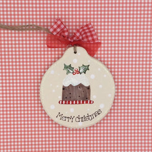 Personalised wooden Christmas Pudding bauble tree decoration