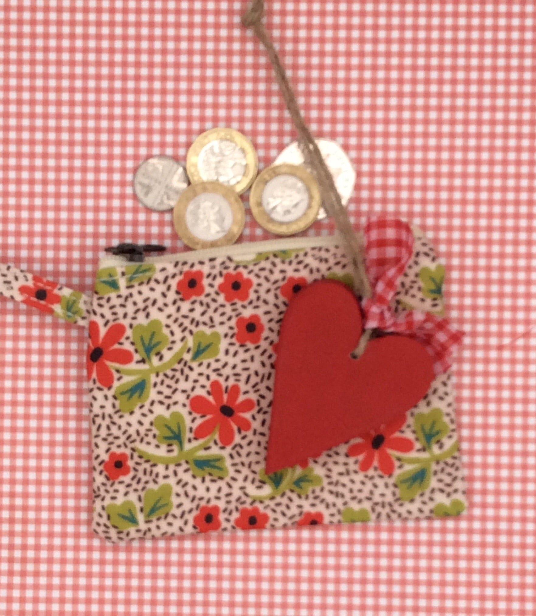 Personalised heart and purse set