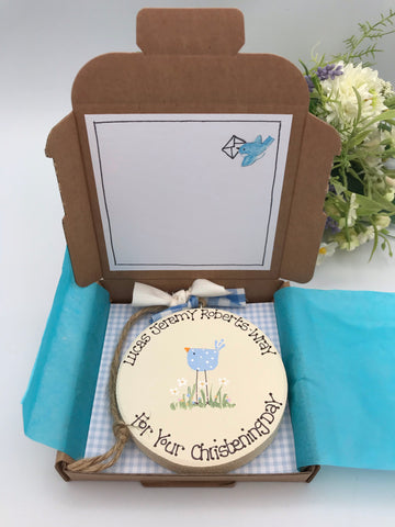 Personalised New Baby/Christening keepsake card and gift in one.