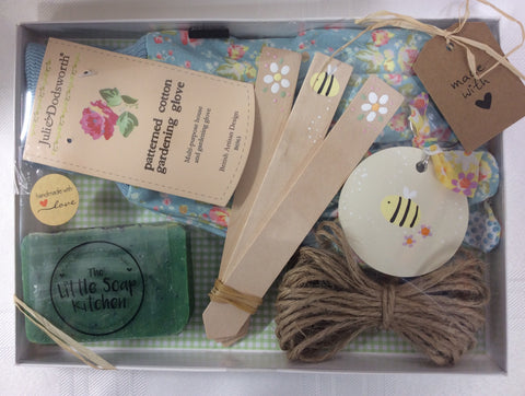 Gardeners keyring/plant marker/soap and gloves gift set