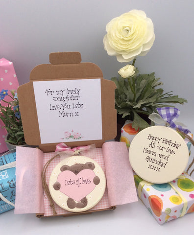 Beautiful personalised handmade greetings card and keepsake plaque with teddy