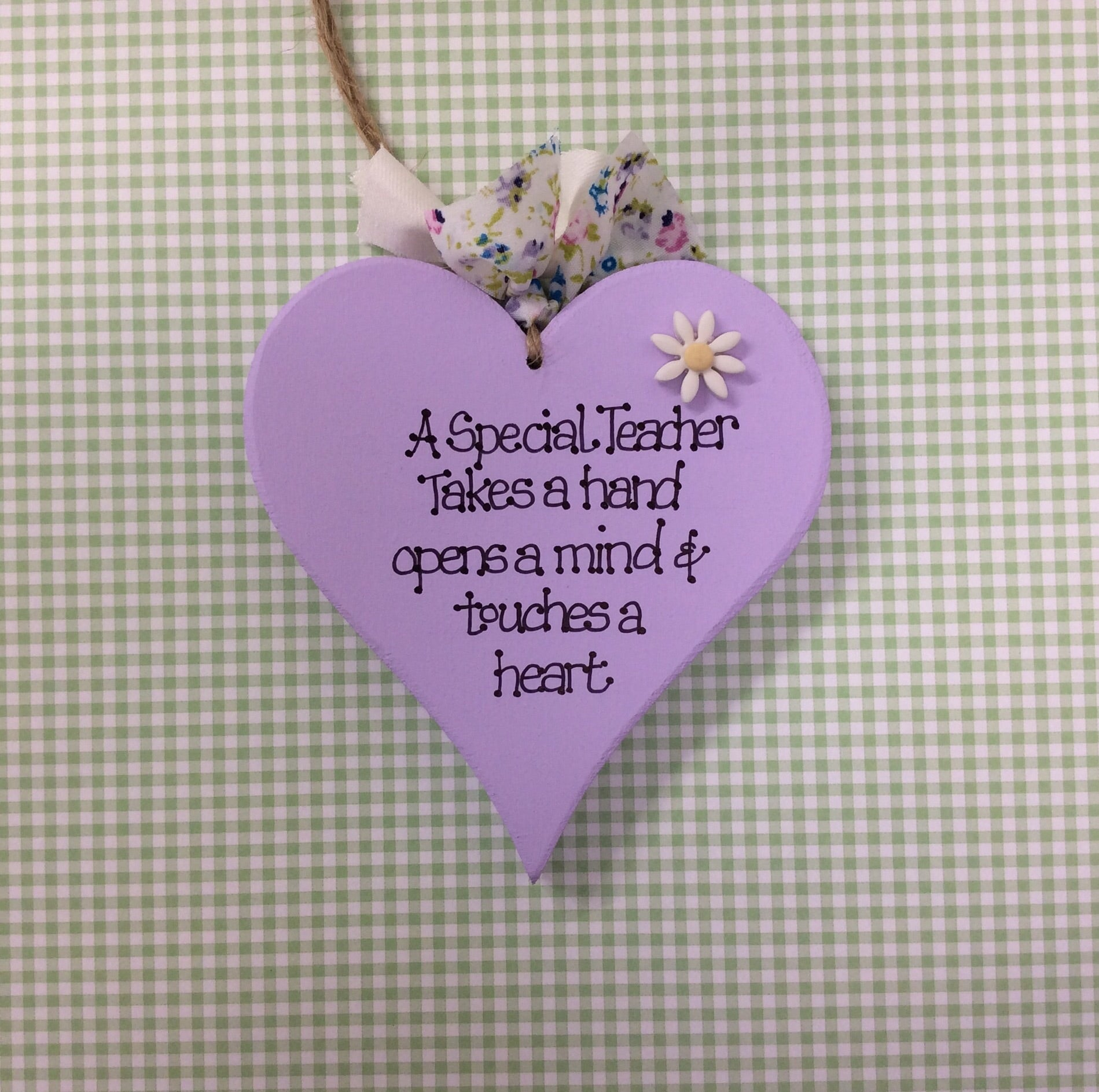 Teacher heart, personalised lilac heart with Daisy
