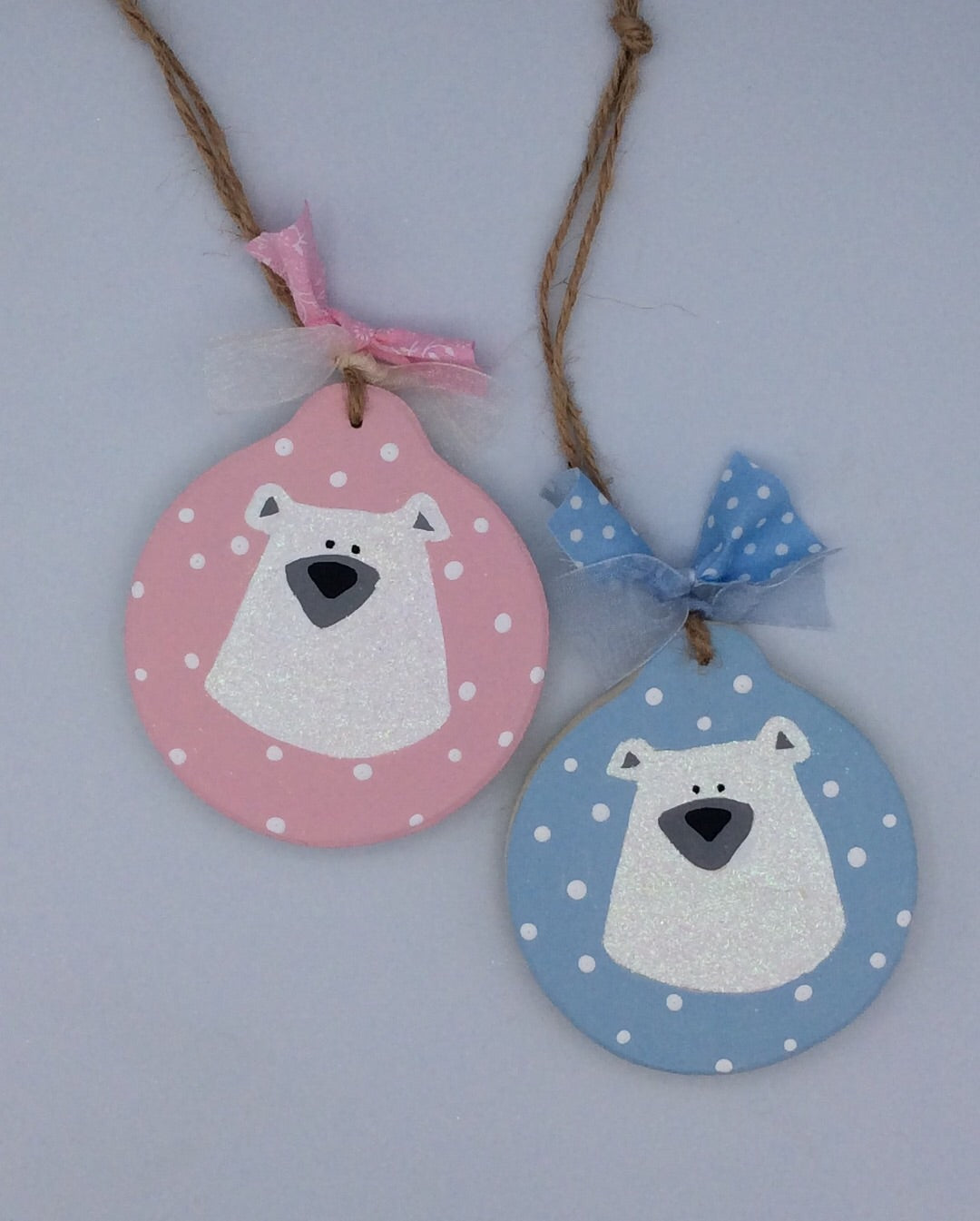 Personalised wooden Christmas tree decoration Polar bear design