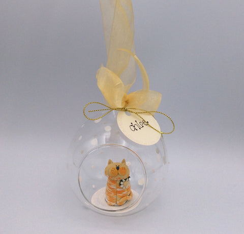 Cat Christmas bauble - Ginger Moggy