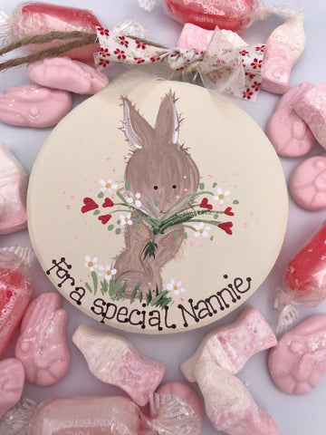 Beautiful handmade bunny keepsake plaque