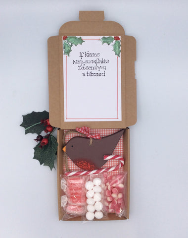 Christmas Robin tree decoration and sweetie box