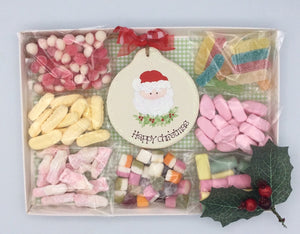 Christmas sweetie box with personalised wooden decoration