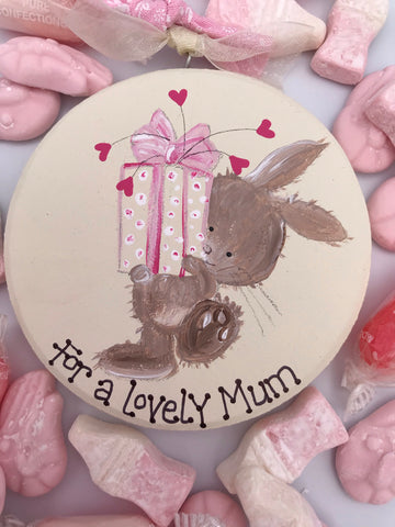 Beautiful handmade bunny holding gift keepsake plaque