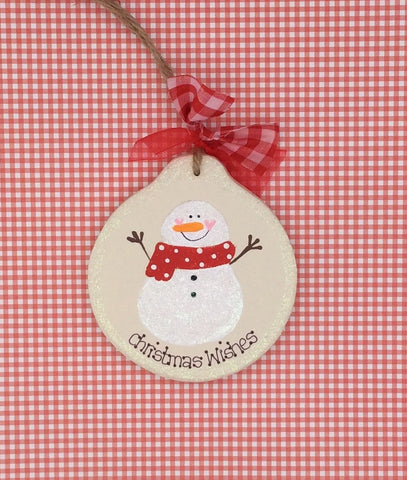 Personalised wooden Christmas tree decoration with snowman design