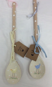 Hand painted hanging wooden spoon