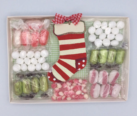 Personalised Christmas sweetie box with Christmas stocking tree decoration