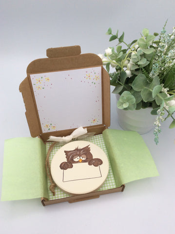 Wise owl keepsake plaque and card in one