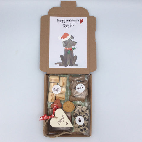 Personalised Christmas doggy treat box gift