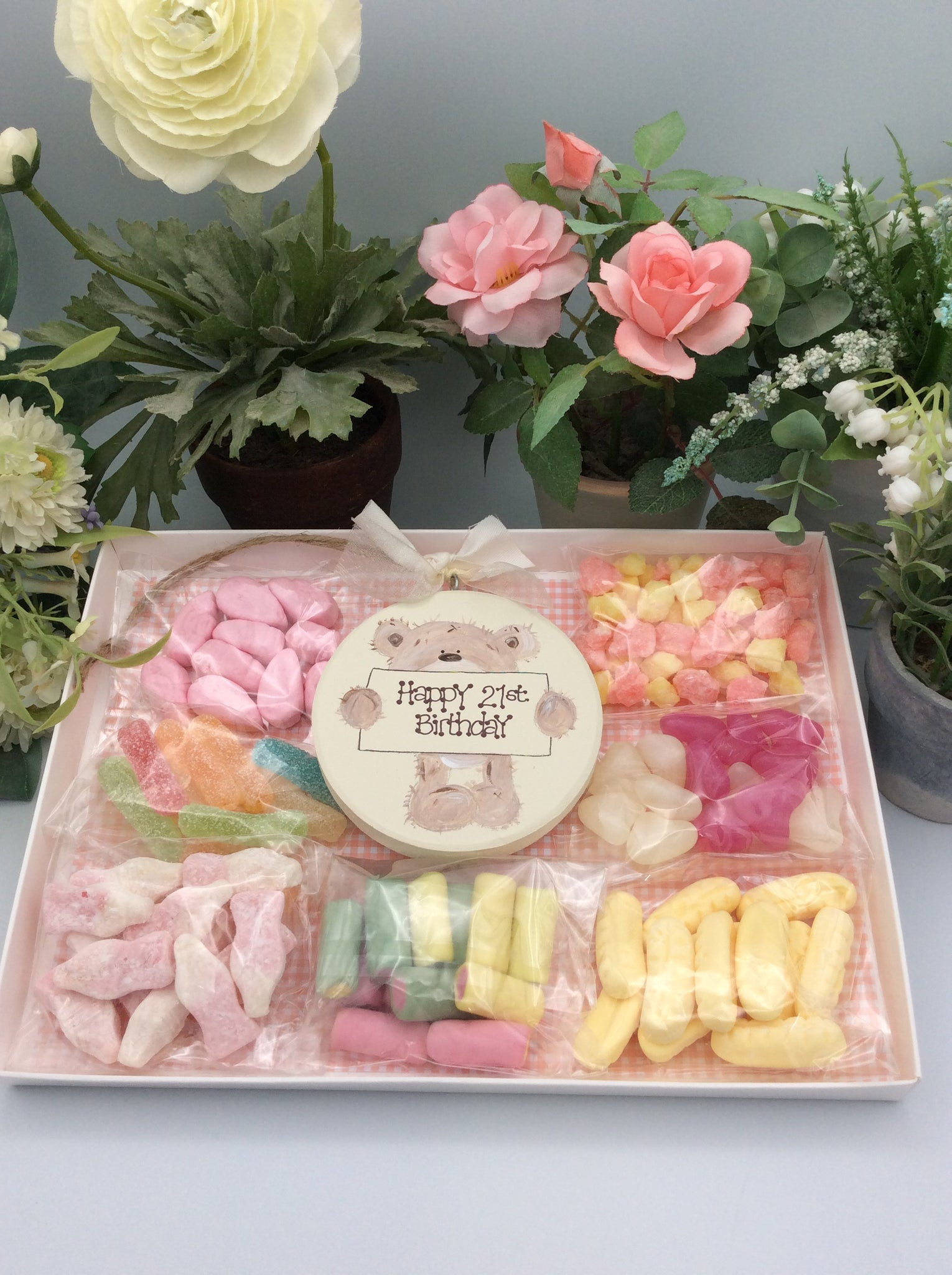 Teddy sweetie box ( personalised happy birthday Keepsake Plaque and sweets)