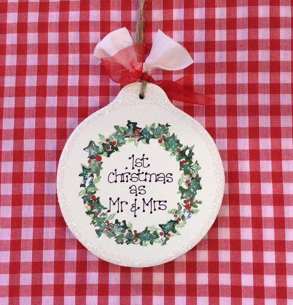 Personalised Christmas wreath bauble/tree decoration