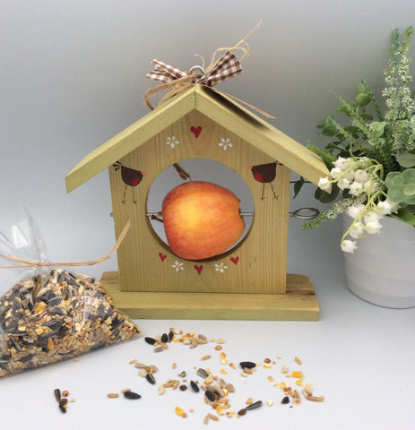 Bird apple feeder with seed gift