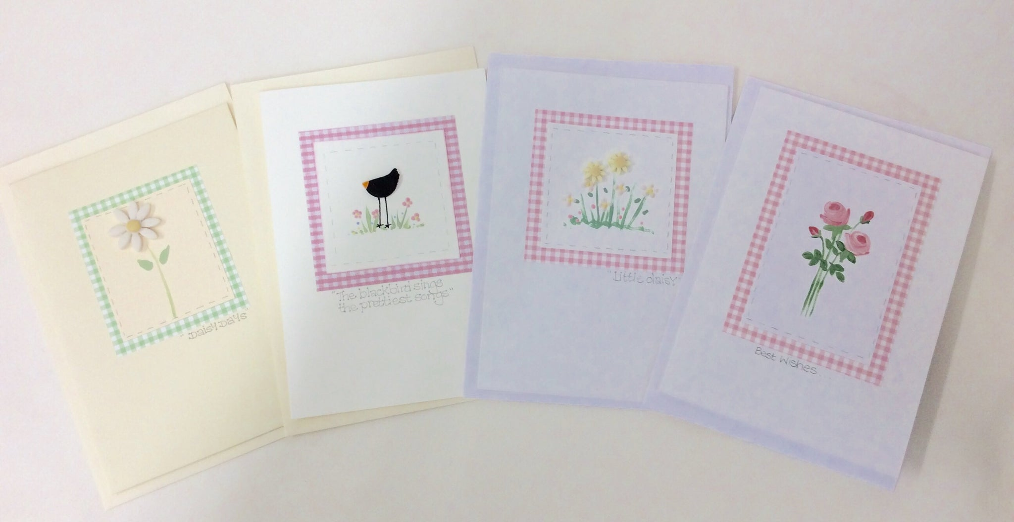 Set of four handmade cards