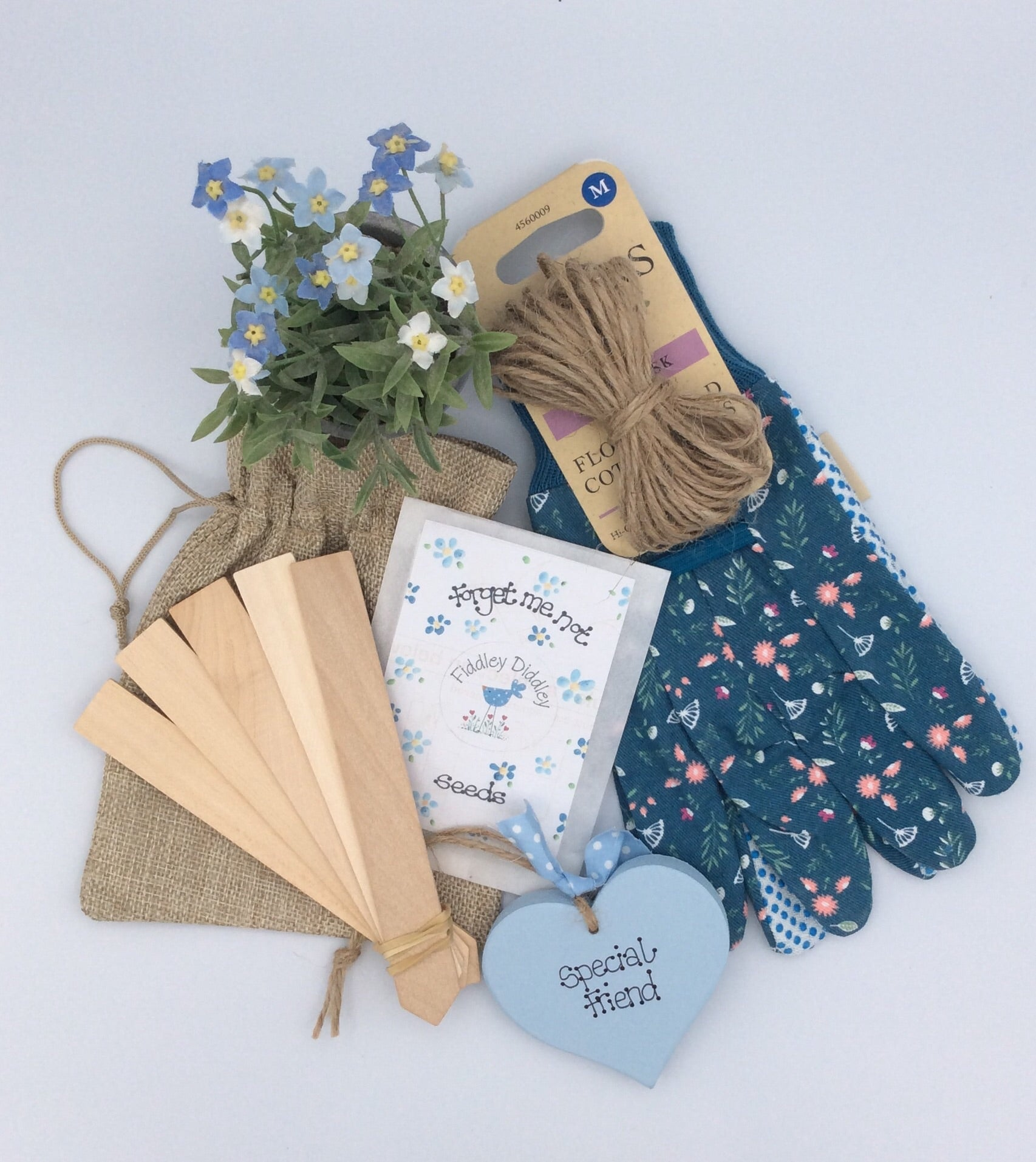 Beautiful handmade heart, gloves and forget me not gardening gift set