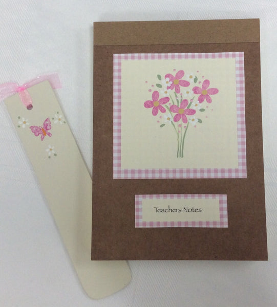 Teachers note book and personalised bookmark set