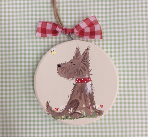 Scruffy mutt hanging keepsake plaque