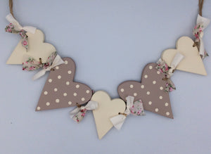 Hearts and ribbons bunting neutral colour