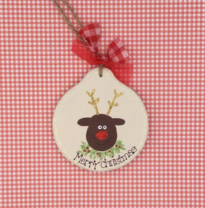 Personalised wooden Christmas tree decoration Rudolph