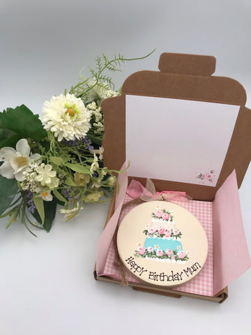 Personalised Birthday cake keepsake plaque and card in one.