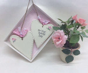 Personalised Wedding Hearts Keepsake Plaque