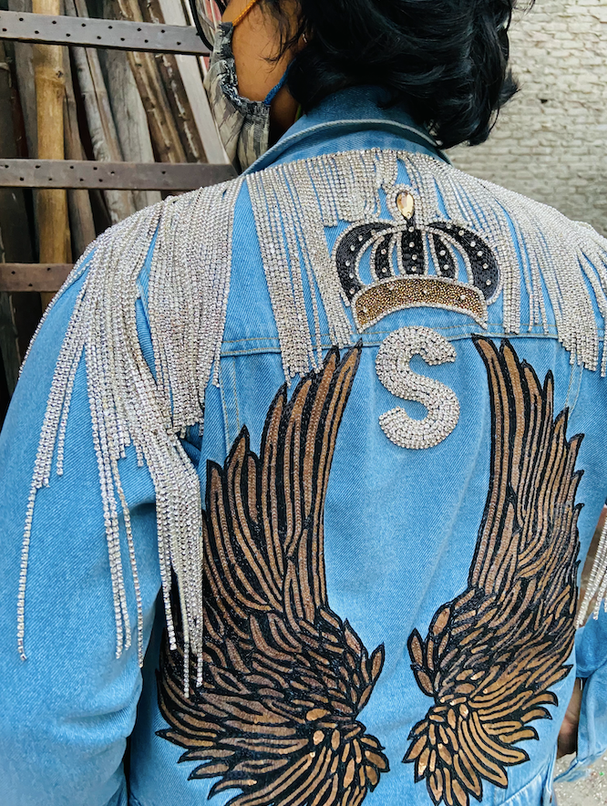 Angel Wings Embroidered on Denim Jacket by Paneni