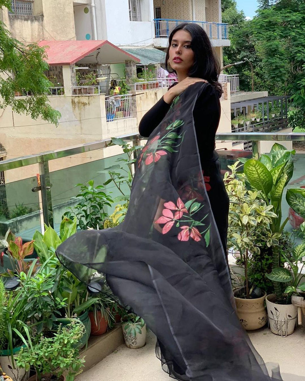 Black Organza Saree Hand-Painted with Red Flowers floral