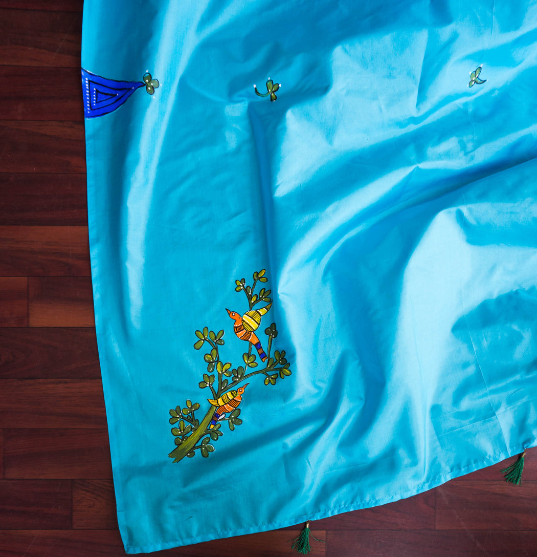 birds on a silk dupatta