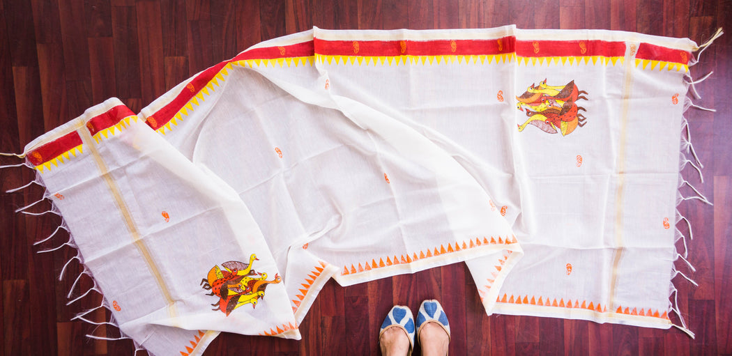 block printed hand painted chanderi dupatta