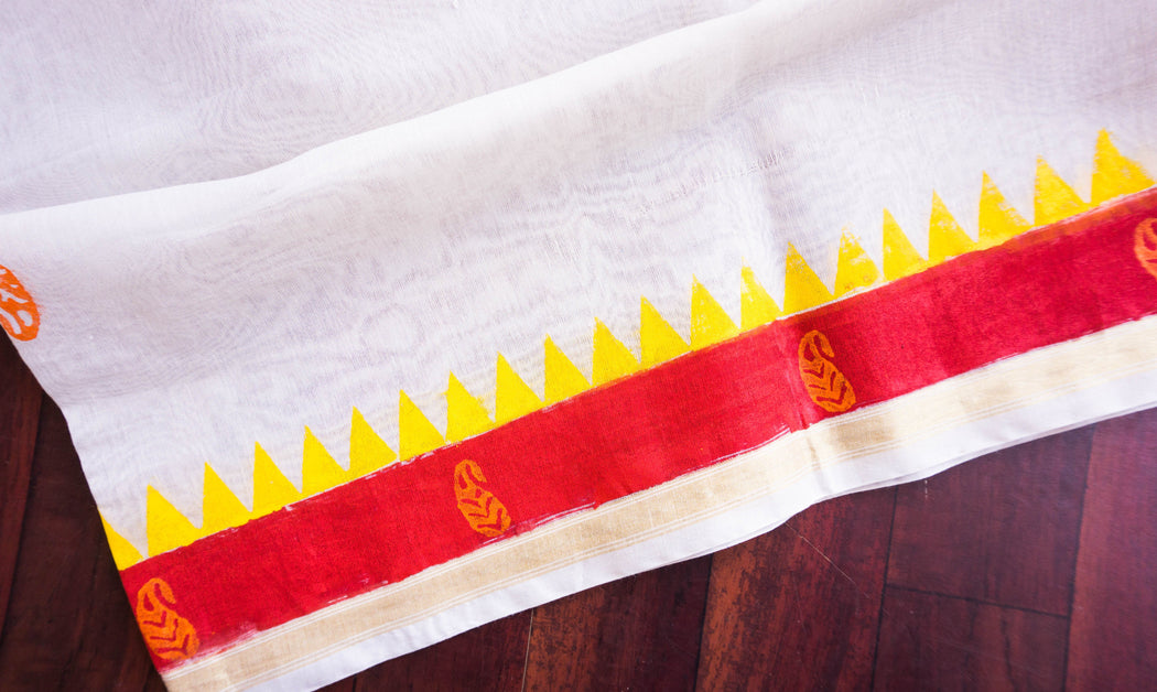 border red with yellow block printing chanderi dupatta